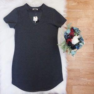 NWT Ultra Flirt Comfy Gray Short Sleeve Dress. D1